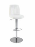 Chintaly Ribbed Back and Seat Pneumatic Stool - Chrome - 0573-AS-WHT