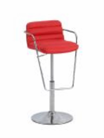 Chintaly Ribbed Pattern Pneumatic Stool - Chrome - 0692-AS-RED