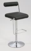 Chintaly Roll Back Pneumatic Gas Lift Adjustable Height Swivel Stool - Chrome Finish(0979) - BLK - 0979-AS-BLK