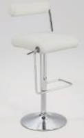 Chintaly Roll Back Pneumatic Gas Lift Adjustable Height Swivel Stool - Chrome Finish(0979) - WHT - 0979-AS-WHT