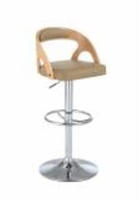 Chintaly Round Open Back Pneumatic Stool - Chrome & Walnut - 1482-AS-BGE
