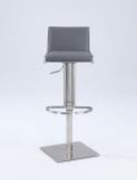 Chintaly Slanted Backrest Contemporary Pneumatic Stool - Brushed SS - 0896-AS-GRY
