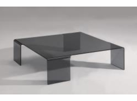 Chintaly Square Bent Cocktail Table - Smoke Glass - 7260-CT