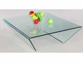 Chintaly Square Bent Glass Cocktail Table - Clear Glass - 72102-SQ-CT