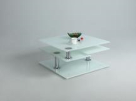 Chintaly STARPHIRE GLASS COCKTAIL TABLE - 8052-CT-WHT