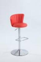 Chintaly Stitched Fan-Back Design Pneumatic Stool - Chrome Finish(0681) - RED - 0681-AS-RED
