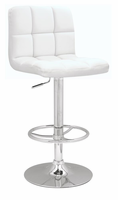 Chintaly Stitched Seat & Back Pneumatic Gas Lift Adjustable Height Swivel Stool - Chrome Finish(0394) - WHT - 0394-AS-WHT