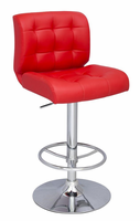 Chintaly Stitched Seat&Back Pneumatic Stool - Chrome - 0361-AS-RED