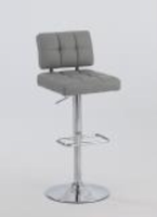 Chintaly Tufted Back Pneumatic Stool - Chrome - 0636-AS-GRY