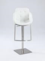 Chintaly Tufted Contemporary Pneumatic Stool - Brushed SS - 0899-AS-WHT