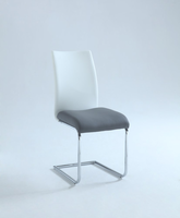 Chintaly Two Tones Contour Back Side Chair - Chrome - JANE-SC-2TONE