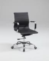 Chintaly Upholstered Back, Adjustable Office Chair - Chrome Finish (BLK) - 4918-CCH-BLK