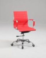 Chintaly Upholstered Back, Adjustable Office Chair - Chrome Finish (Red) - 4918-CCH-RED