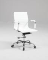 Chintaly Upholstered Back, Adjustable Office Chair - Chrome Finish (WHT) - 4918-CCH-WHT