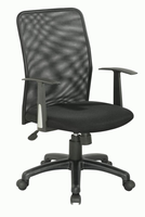 Chintaly Upholstered Back Pneumatic Office Chair - Black - 4219-CCH
