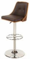 Chintaly Upholstered Back Pneumatic Stool - Chrome/ Walnut - 1353-AS-BRW