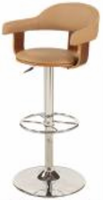 Chintaly Upholstered Back Pneumatic Swivel Stool - Chrome/ Walnut - 1386-AS-TPE