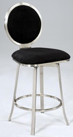 Chintaly Upholstered Round Back Memory Swivel Bar Stool - Brushed Nickel plated - 0459-BS