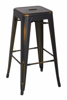 Chintaly Vintage Galanized Steel Bar Stool - Antique Copper - 8015-BS-ATQ-GLD