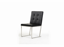 Click - Modern Black Leatherette Dining Chair (Set of 2)