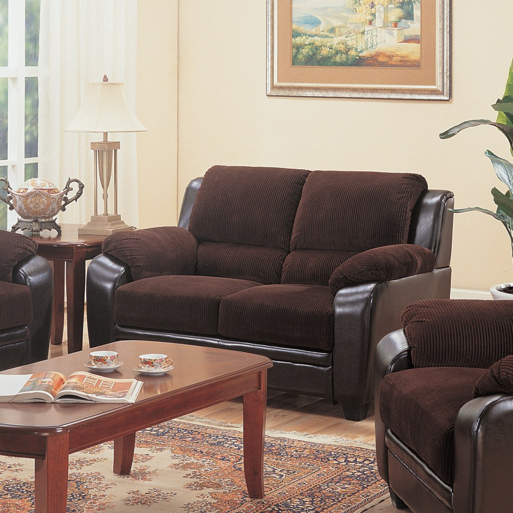 Coaster furniture 502812 monika love seat chocolate for Zfurniture alexandria