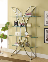 Coaster Furniture 910050 - Bookshelf (Chrome) 4-Tier Bookcase Chrome And Clear Glass