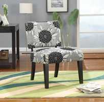 Coaster Furniture 902050 - Accent Chair (Black/White Floral Pattern)