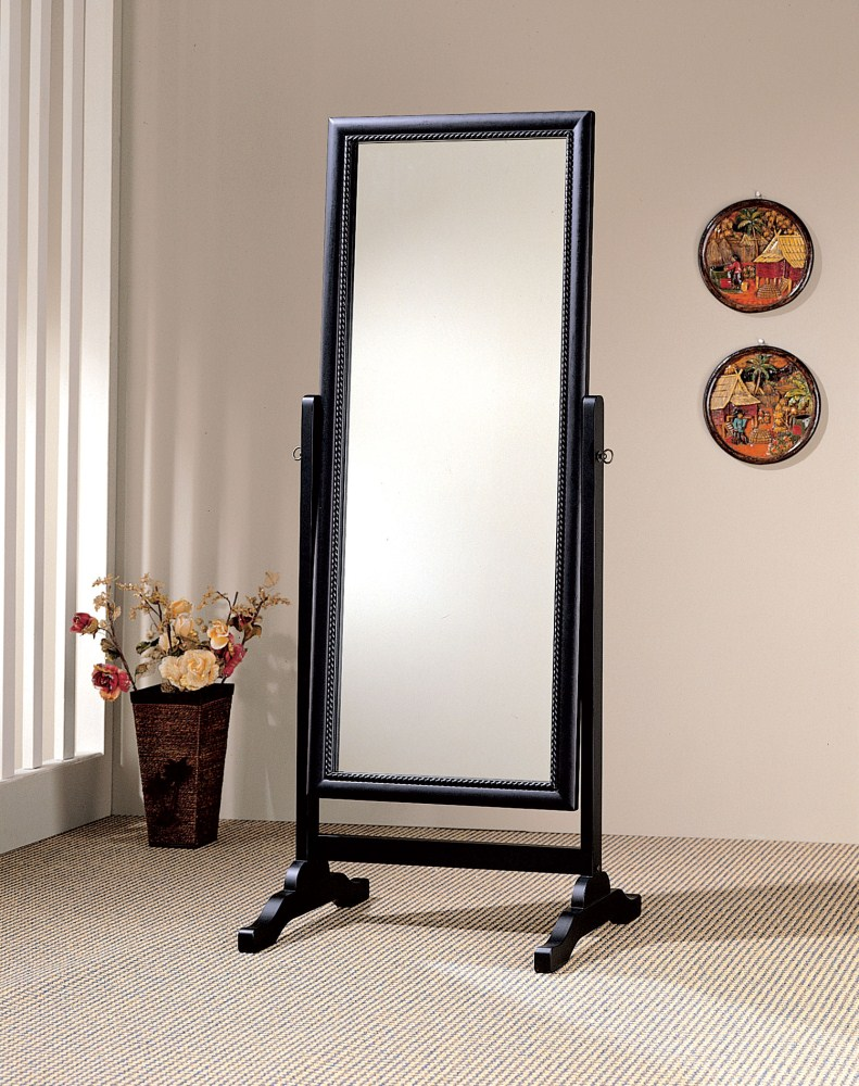 Coaster furniture 900168 cheval mirror rubbed black for Bedroom mirrors