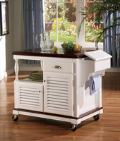Coaster Furniture 910013 - Kitchen Cart (Cherry/White)