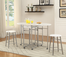 Coaster Furniture - 100080 - 3 PC COUNTER HEIGHT SET (WHITE/METAL)