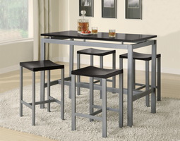 Coaster Furniture 150095 - Atlas 5 PC Counter Height Set, Table (Black/Silver)