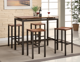 Coaster Furniture 150097 - Atlas 5 PC Counter Height Set, Table (Birch Veneer/Black)