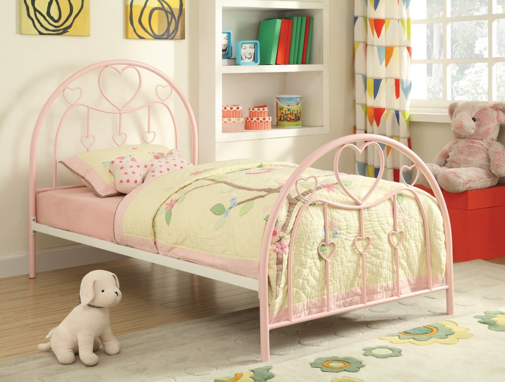 coaster furniture 400571t juliette twin bed sandy yellow pink. Black Bedroom Furniture Sets. Home Design Ideas
