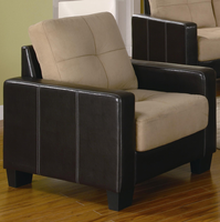 Coaster Furniture 500100 - Regatta 3PC Sofa Set (Khaki/Dark Brown)