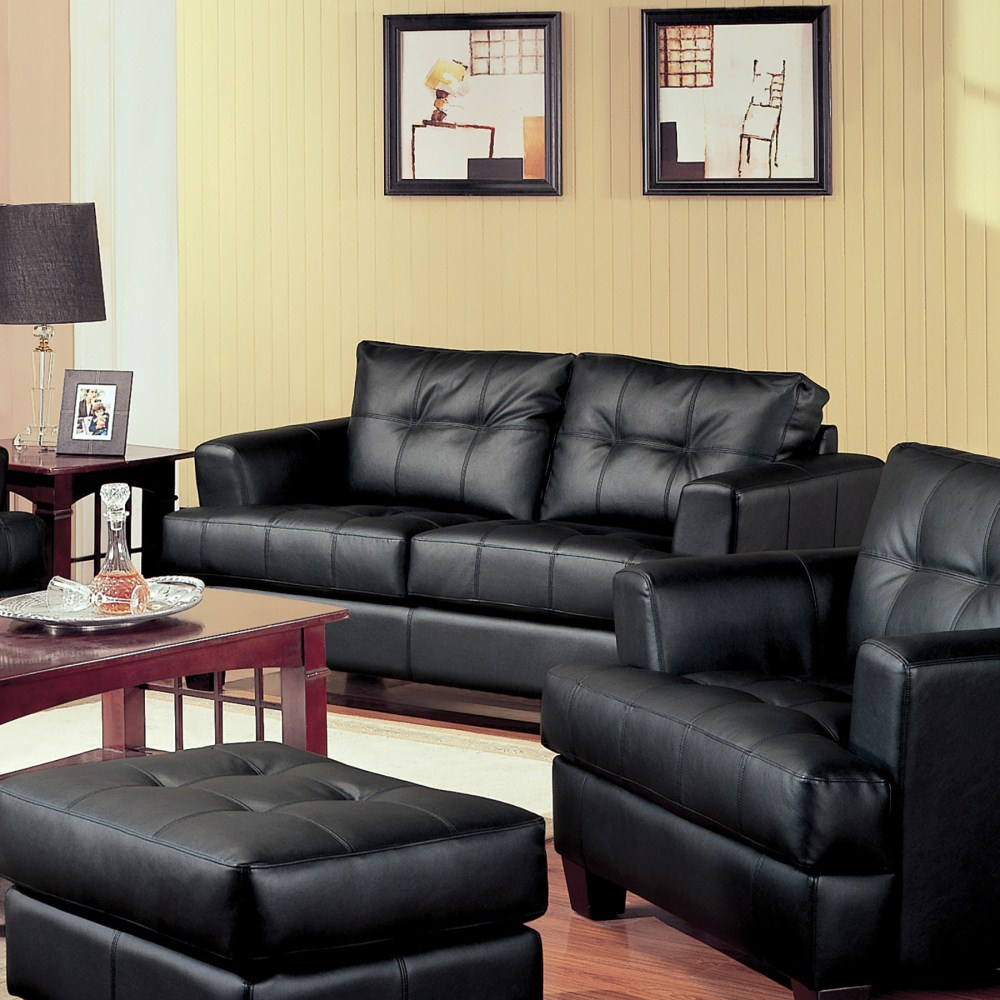 Coaster furniture 501682 samuel love seat black for Zfurniture alexandria