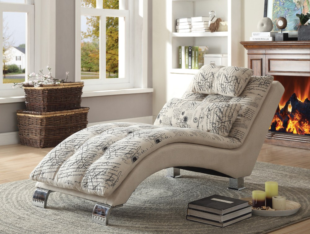 Super Coaster Furniture 550015 Chaise Oatmeal French Script Ibusinesslaw Wood Chair Design Ideas Ibusinesslaworg