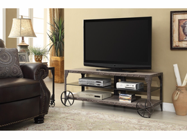 Coaster Furniture - 700216 - TV CONSOLE (WEATHERED BROWN/ANITQUE BROWN PATINA METAL)