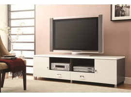 Coaster Furniture - 700910 - TV CONSOLE (WHITE/GUNMETAL)