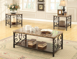 Coaster Furniture - 701695 - 3PC OCCASIONAL SET (FAUX MARBLE/DARK BROWN METAL)