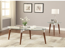 Coaster Furniture - 702908 - COFFEE TABLE (NICKEL/WARM BROWN)