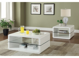 Coaster Furniture - 703268 - COFFEE TABLE (GLOSSY WHITE)