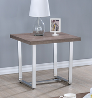 Coaster Furniture - 704187 - END TABLE (WEATHERED TAUPE/CHROME METAL)