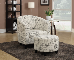 Coaster Furniture - 900210 - ACCENT CHAIR/OTTOMAN (OFF WHITE FRENCH SCRIPT PATTERN)