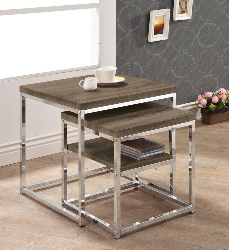 Pleasant Coaster Furniture 901288 Nesting Table Weathered Grey Short Links Chair Design For Home Short Linksinfo