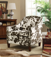 Coaster Furniture - 902134 - ACCENT CHAIR (BROWN/WHITE COW PATTERN)