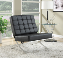 BARCELONA STYLE ACCENT CHAIR (BLACK/CHROME)