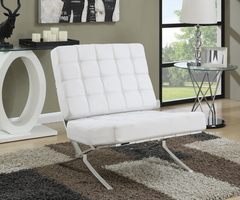 Barcelona Style ACCENT CHAIR (WHITE/CHROME)