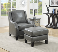 Coaster Furniture - 902408 - ACCENT CHAIR/OTTOMAN (GREY)