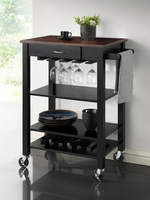 Coaster Furniture - 910026 - KITCHEN CART (BLACK/MERLOT)