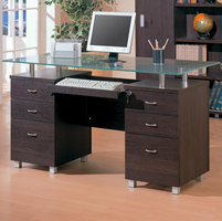 Coaster Furniture 800231 - Desk With Glass (Dark Brown)